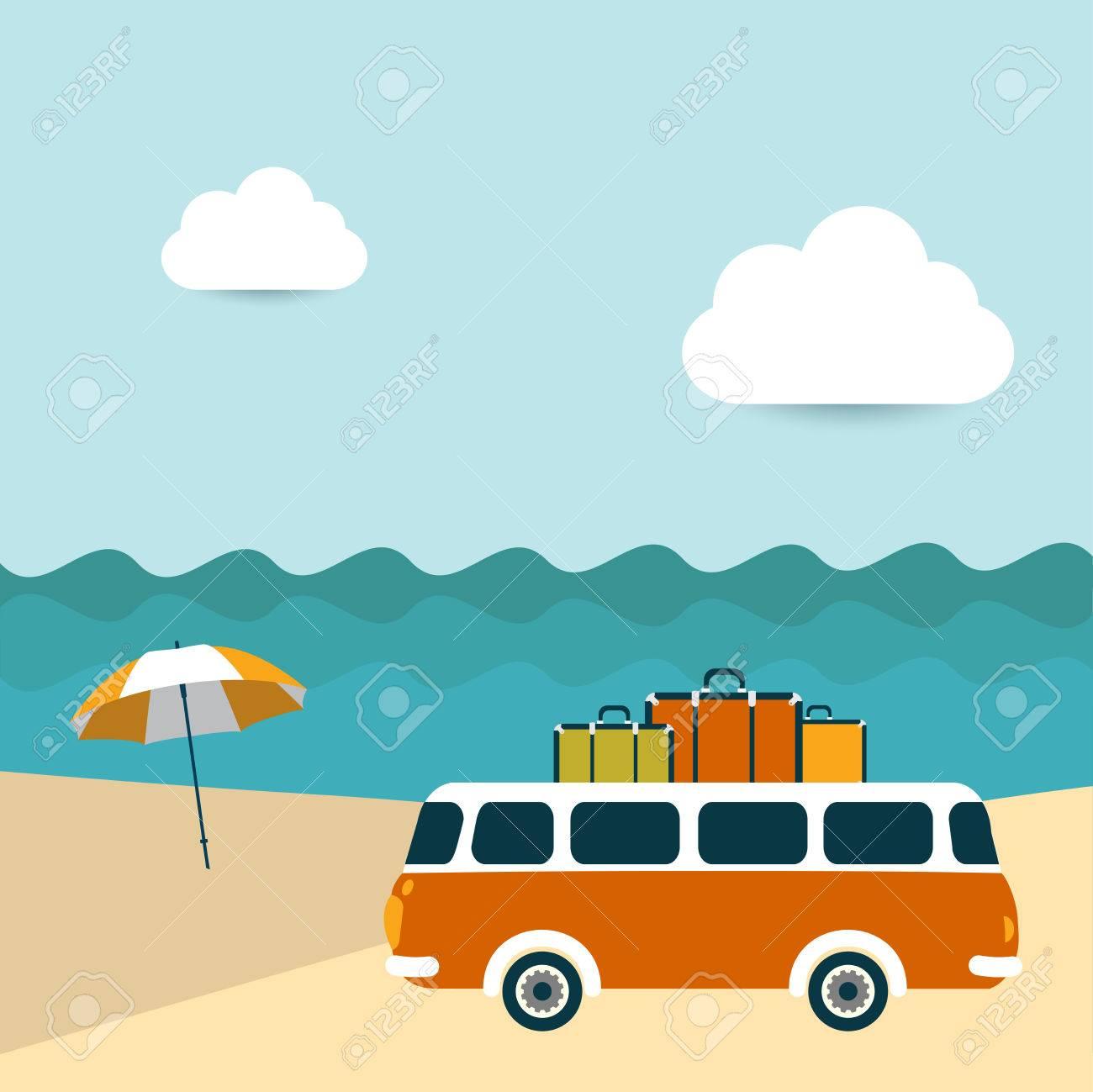 夏イラスト背景レトロなバスでの海の風景 ロイヤリティフリークリップ