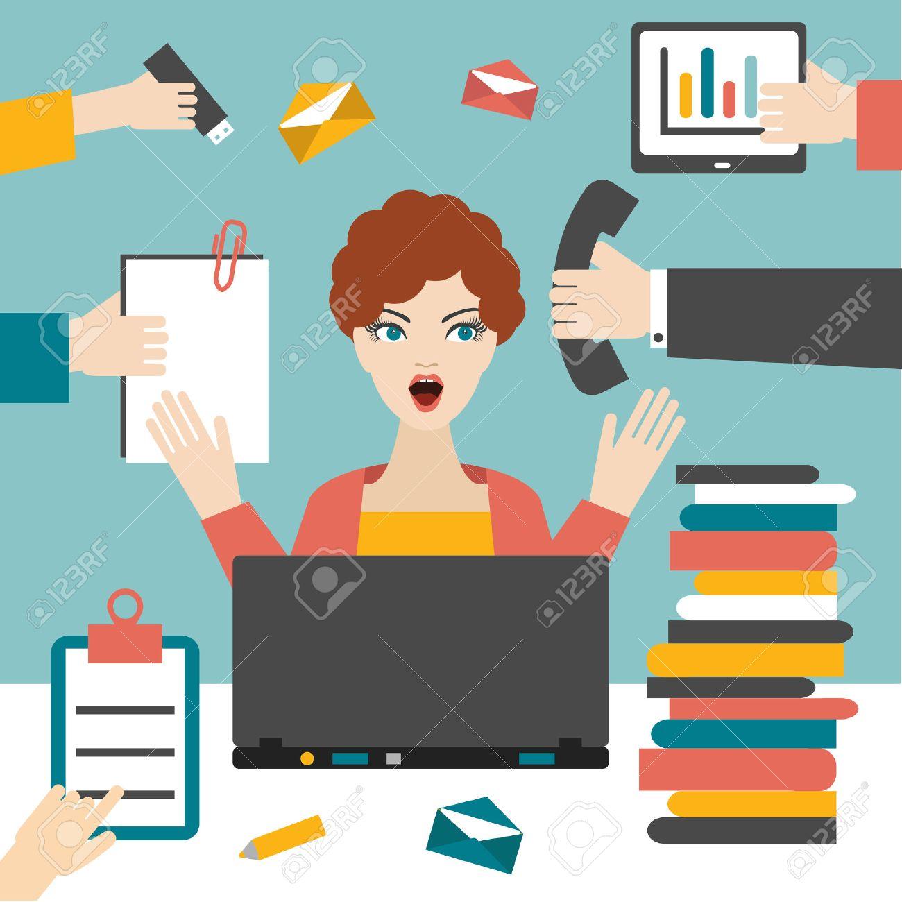 Woman Secretary Hard Working. Busy Business Woman. Royalty Free ...