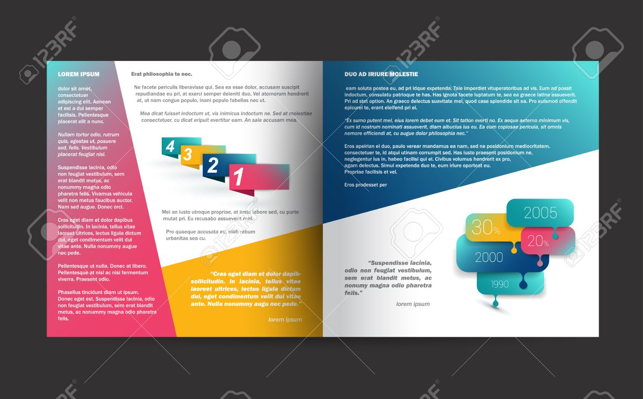 Brochure Design Annual Report Sample Text Page Royalty Free