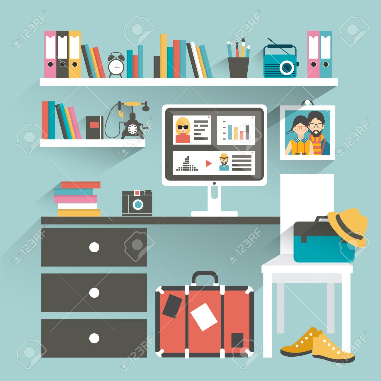 office book shelves. Office Workplace With Computer And Book Shelves. Hipster Office. Flat Design Vector Illustration. Shelves S