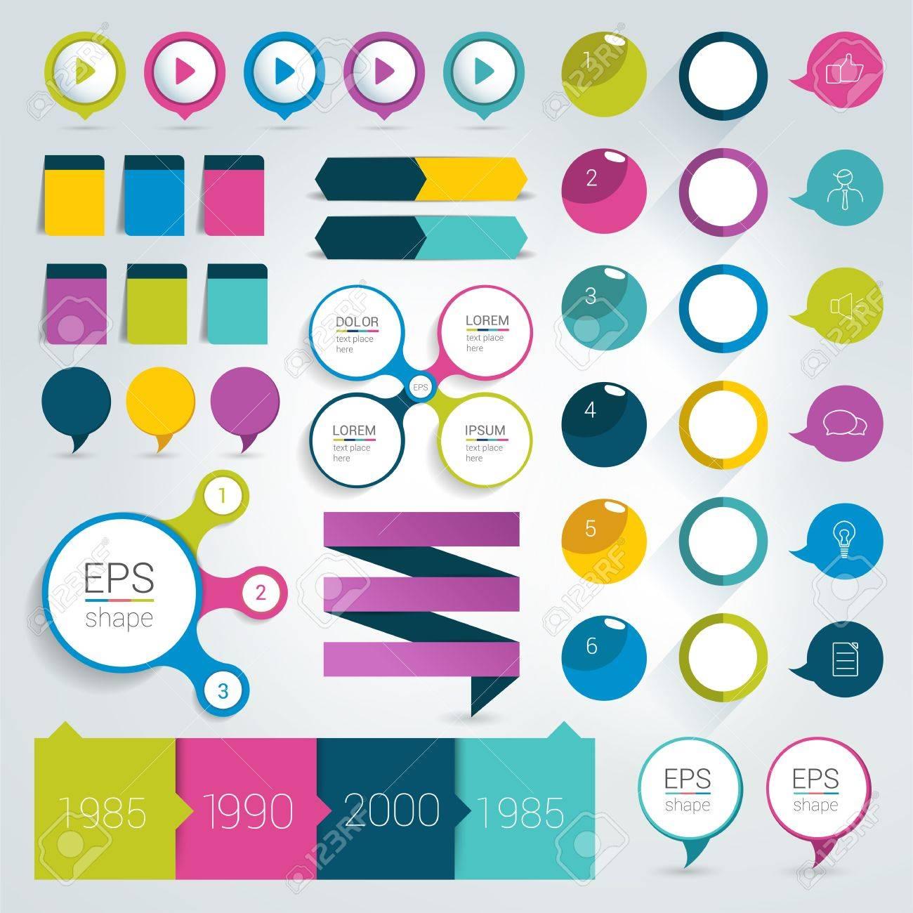 d5e226f69858e Foto de archivo - Infografía planas Gran conjunto de elementos de diseño  Schems gráficos botones. Ilustración del vector.