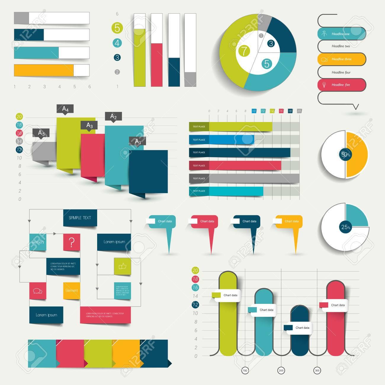 Table chart design - Set Of Business Flat Design 3d Graphs Charts Infographics Stock Vector 40918609