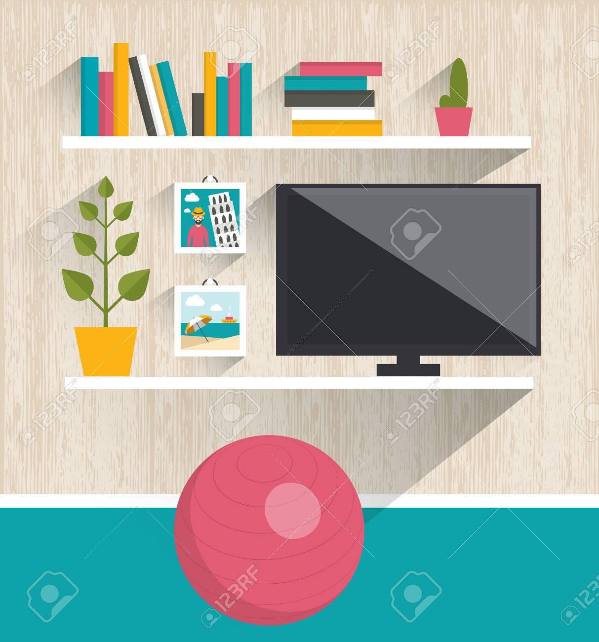Living Room Interior Tv And Book Shelves Flat Design Vector Illustration Stock