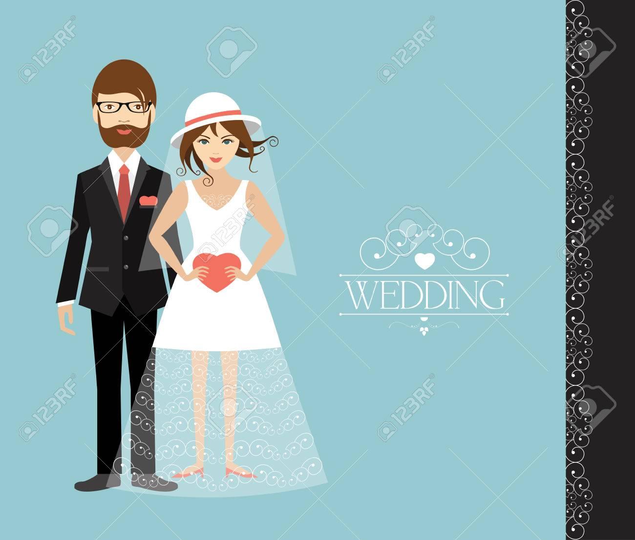 Young wedding couple. Flat illustration. - 43564505