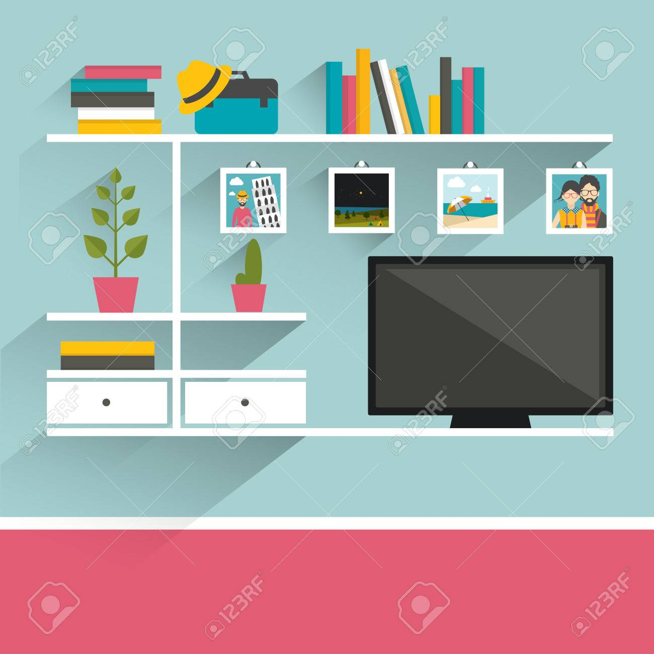 Living Room With Television And Book Shelves. Flat Design Vector  Illustration. Stock Vector