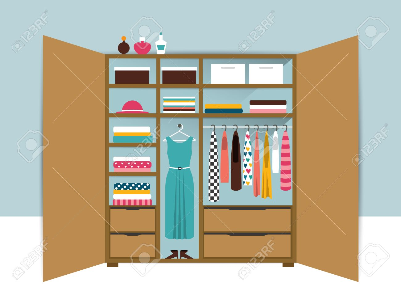 Interior wooden shelves free vector - Wooden Closet With Tidy Clothes Shirts Sweaters Boxes And Shoes