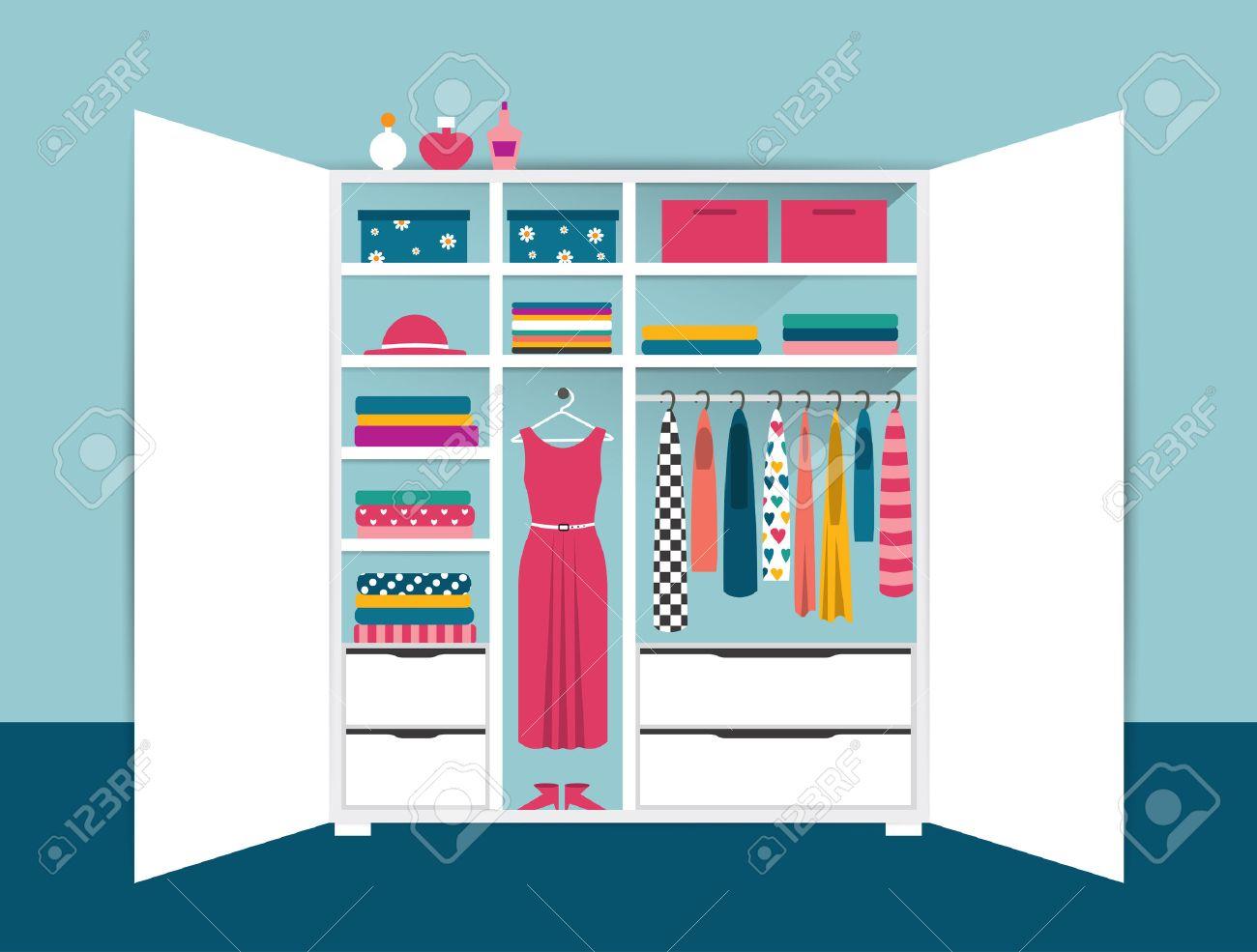 Offene Garderobe. Weiß Ordentlich Schrank Mit Kleidung, Hemden ...