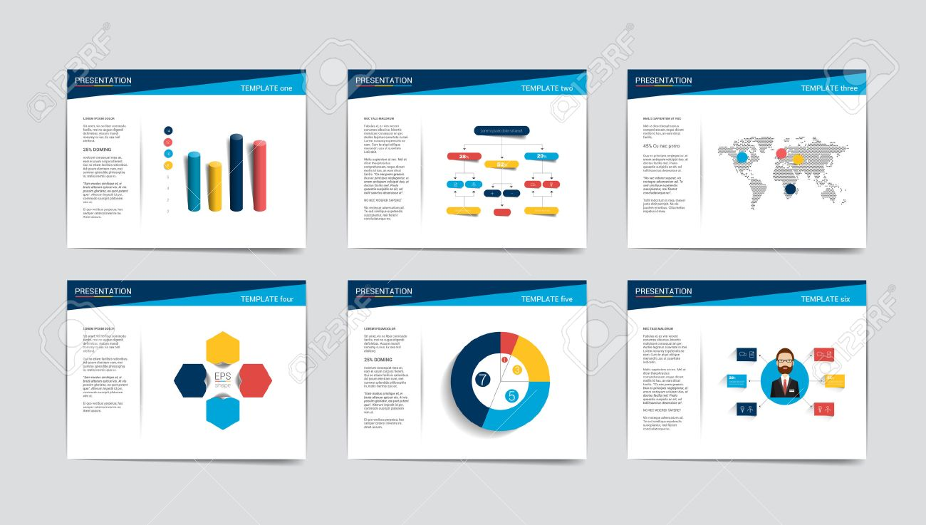 6 business presentation templates infographics for leaflet