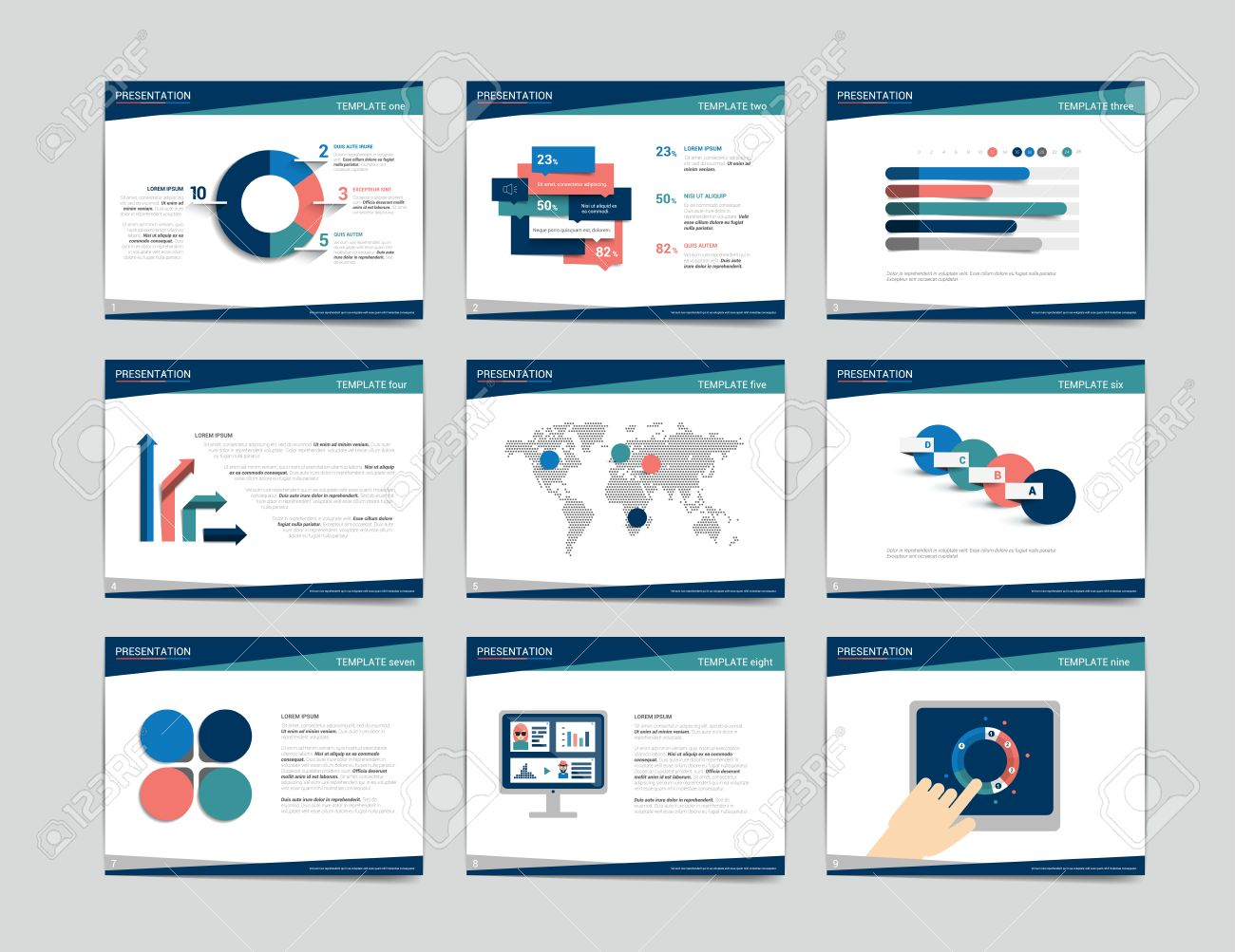 Good 9 Business Presentation Templates. Infographics For Leaflet, Poster, Slide,  Magazine, Book Pictures