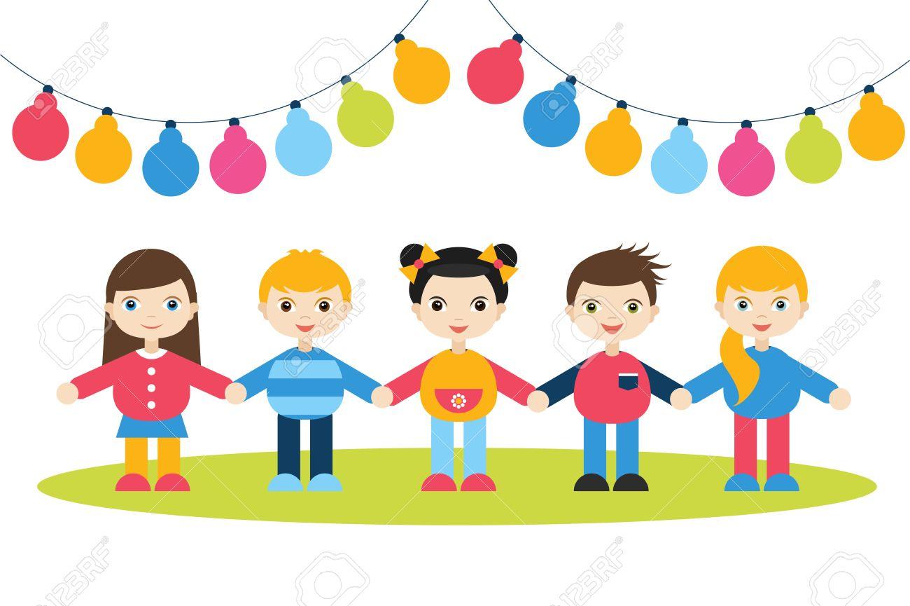 Los Niños Tomados De La Mano Figuras De Dibujos Animados Los Niños