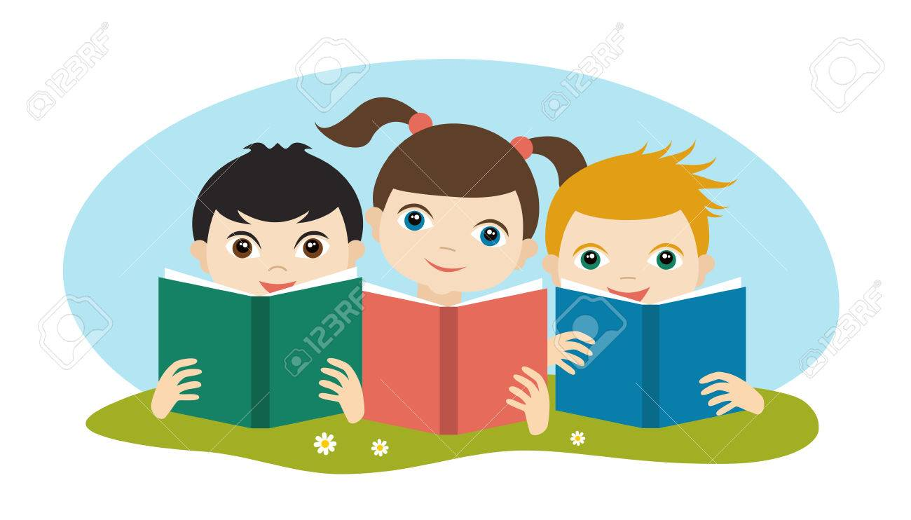 little cute group of three children reading a books sitting on