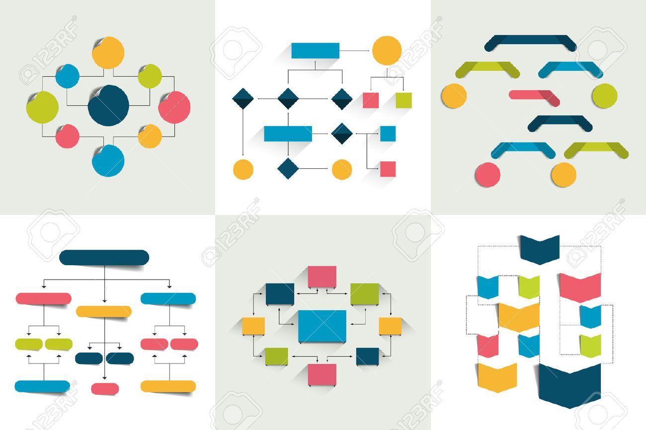 Flowcharts. Set of 6 flow charts schemes, diagrams. Simply color editable. Infographics elements. - 55136870