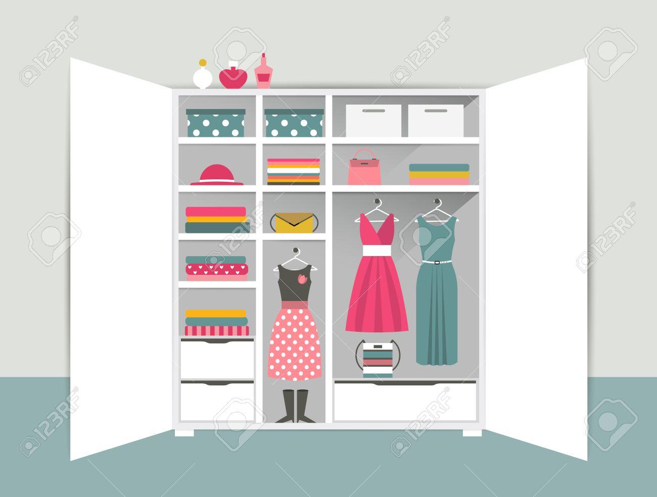 Offene Garderobe. Weiß Kleiderschrank Mit Ordentlich Kleidung, T ...