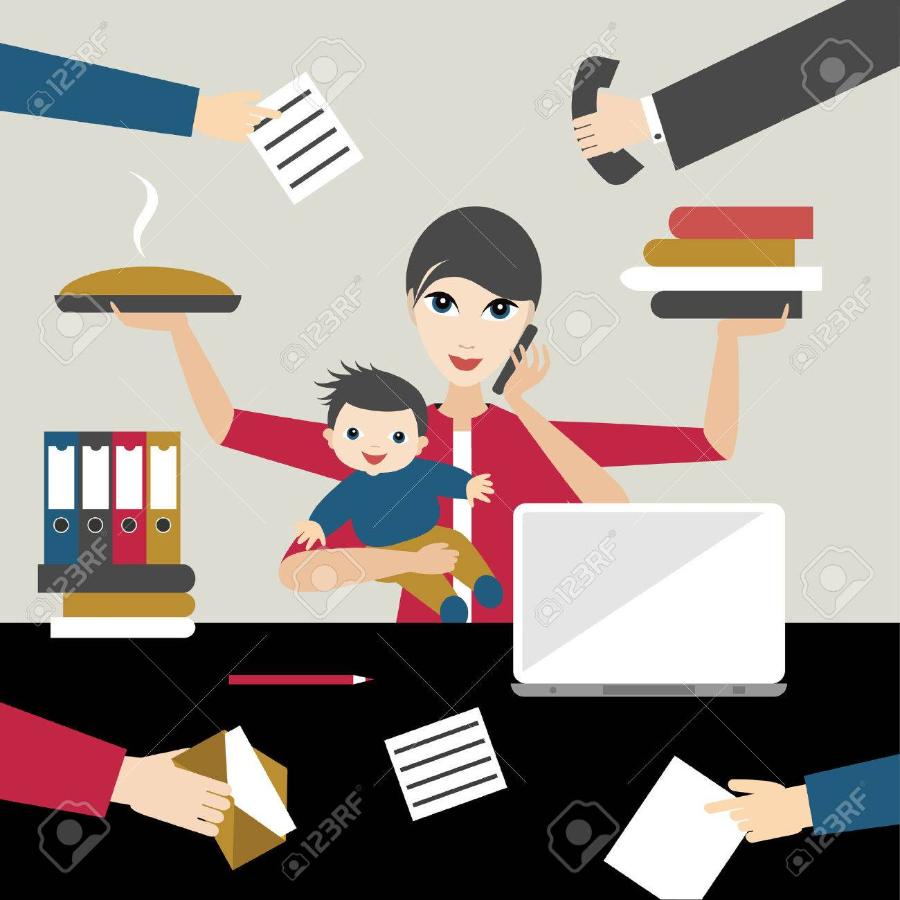 Working mother with child in business offiice. Multitasking person. Flat vector. - 56481272