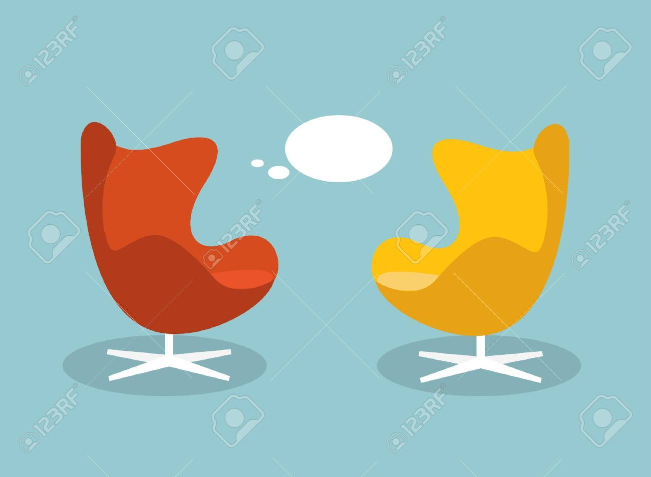 Vector illustration of a communication and discussion concept. Retro armchaichr with talk baloon. Flat design vector illustration. - 57443489