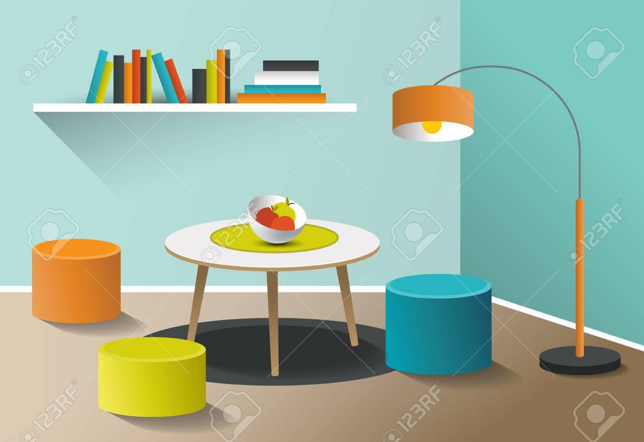 Retro Art Woonkamer : Interior living room retro minimalism design art cartoon vector