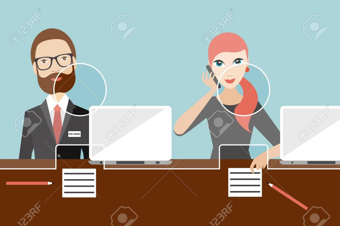 Employees, jobholders clerk in a bank. Flat vector. - 58326694
