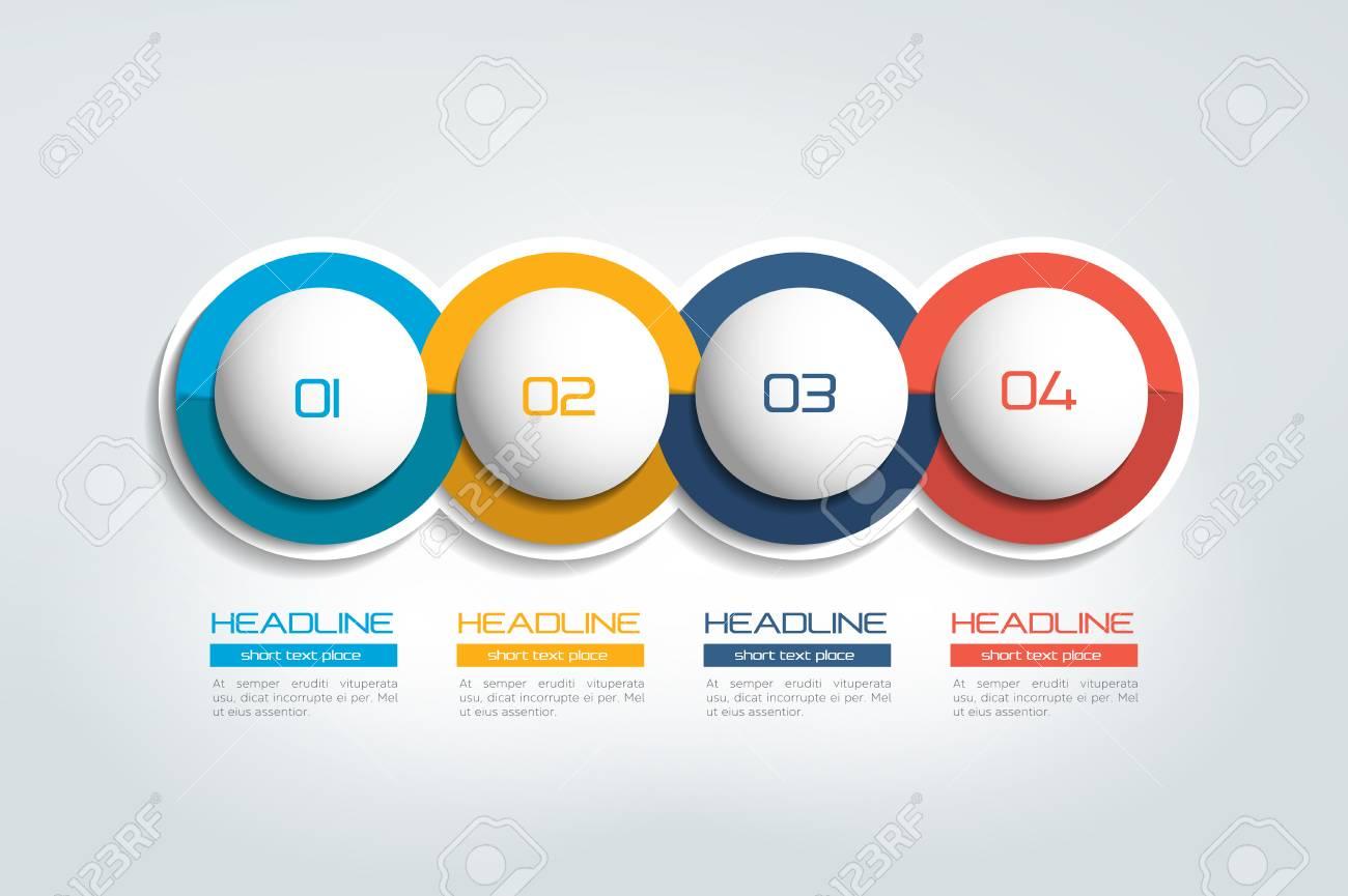 4 Elementos De Negocio Banner, Plantilla. Diseño De 4 Pasos, Gráfico ...