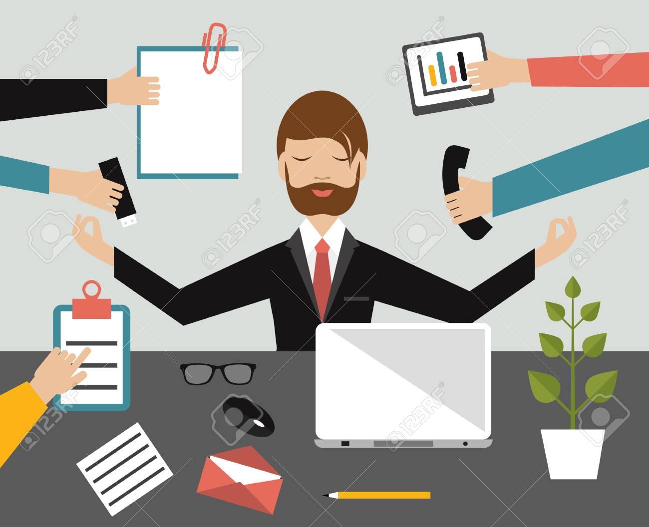 meditation businessman office. Businessman In Lotus Meditation Position Work Office. Multitasking Concept. Flat Illustration. Stock Office E