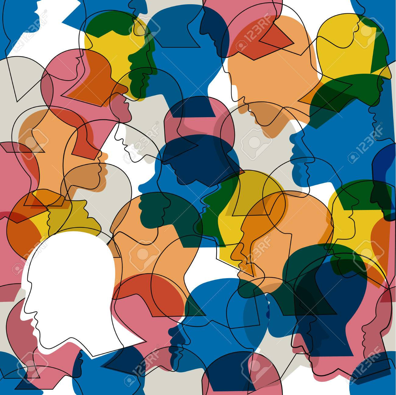 Seamless pattern of a crowd of many different people profile heads. Vector background. - 77930858