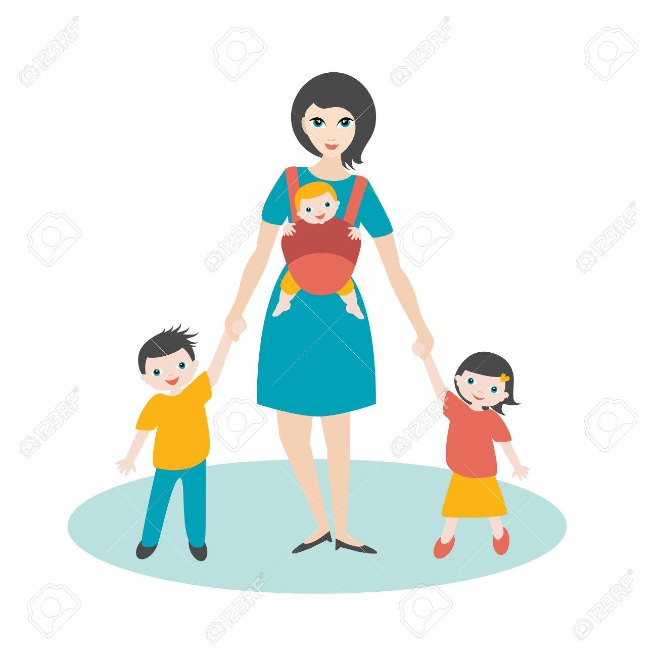 Young Mother Walking With Children Son And Daughter And New