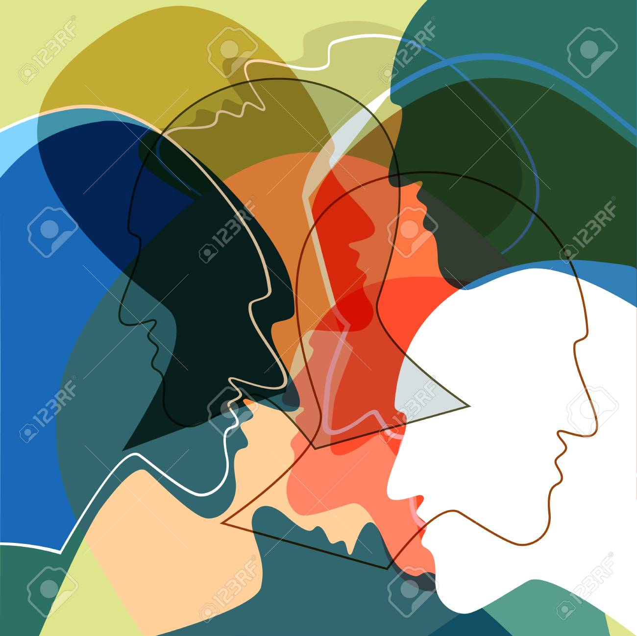 Heads people concept, symbol of communication between people. Vector ilustration. - 88536297