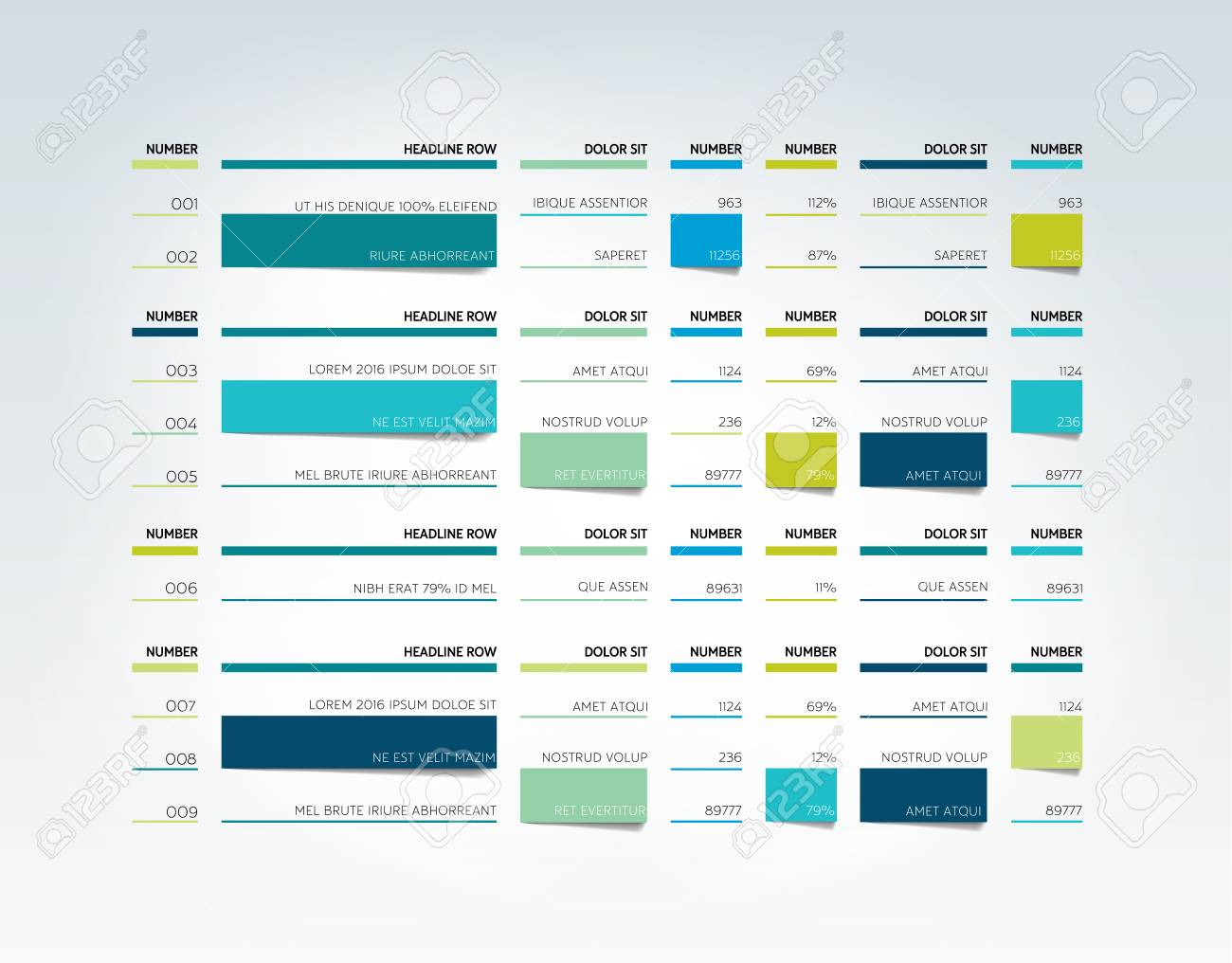 table, schedule, tab, planner, infographic design template. vector