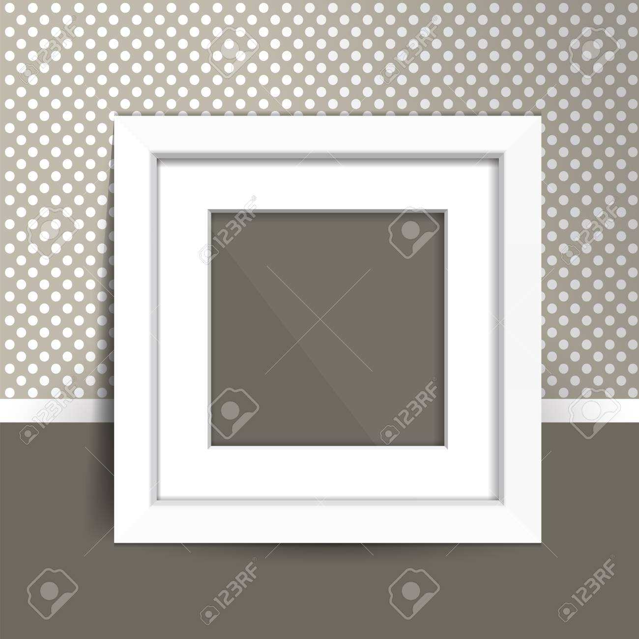 Photoframe Mock Up On The Wall. Simple White Empty Framing. Template ...