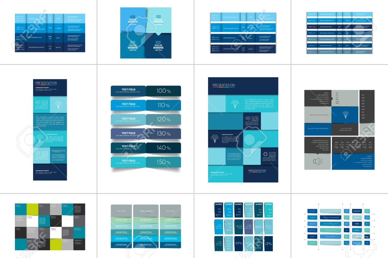 Big set of tables, schedules, banners. Step by step infographic. - 120161847
