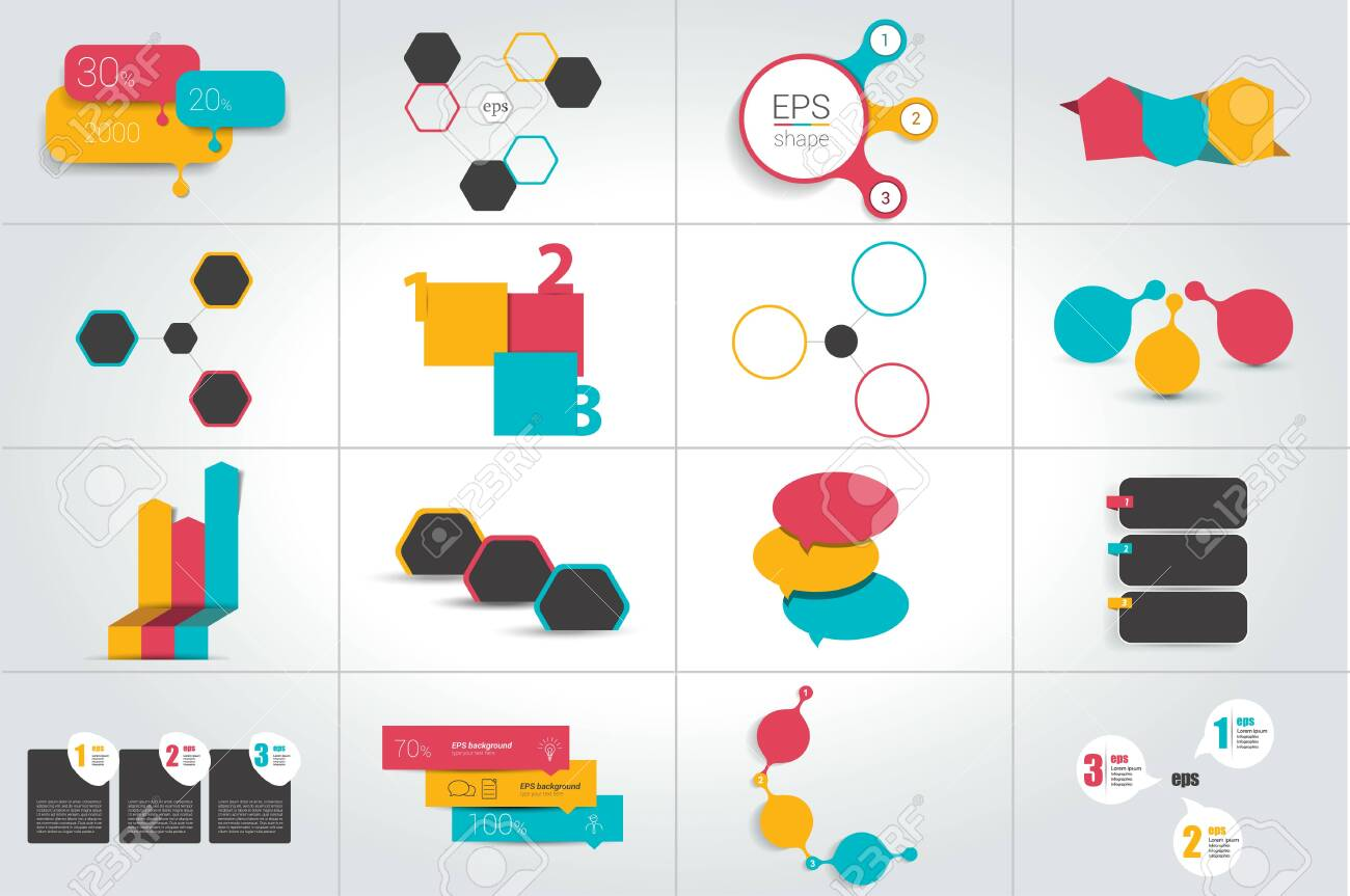 Infographics with 3 options. Big set. Vector template. - 123632596