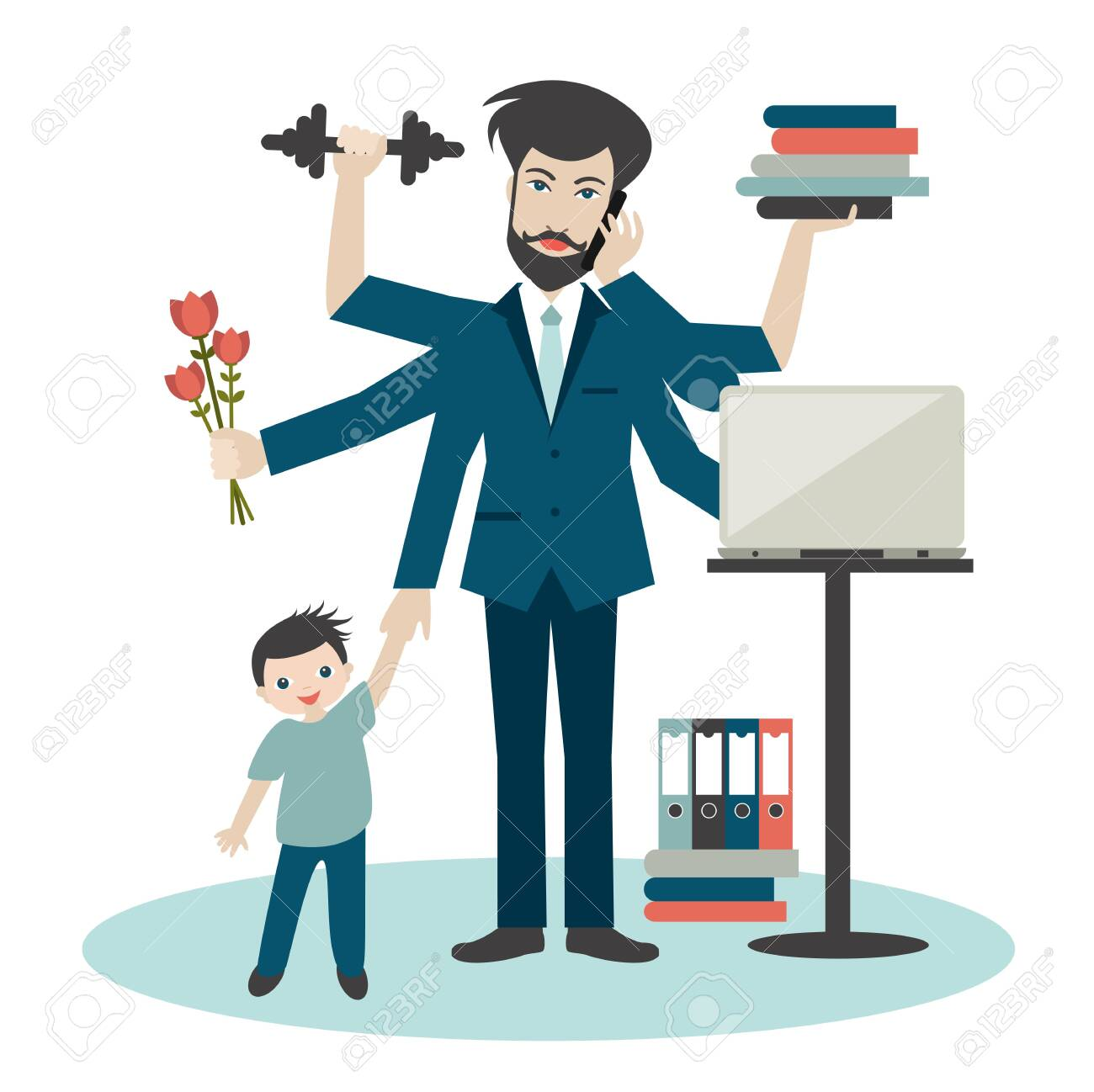 Busy multitasking man, father, dad, daddy, romantic husband, businessman, worker. Young man with son, working, calling and doing exercise at the gym. Flat vector. - 133491059
