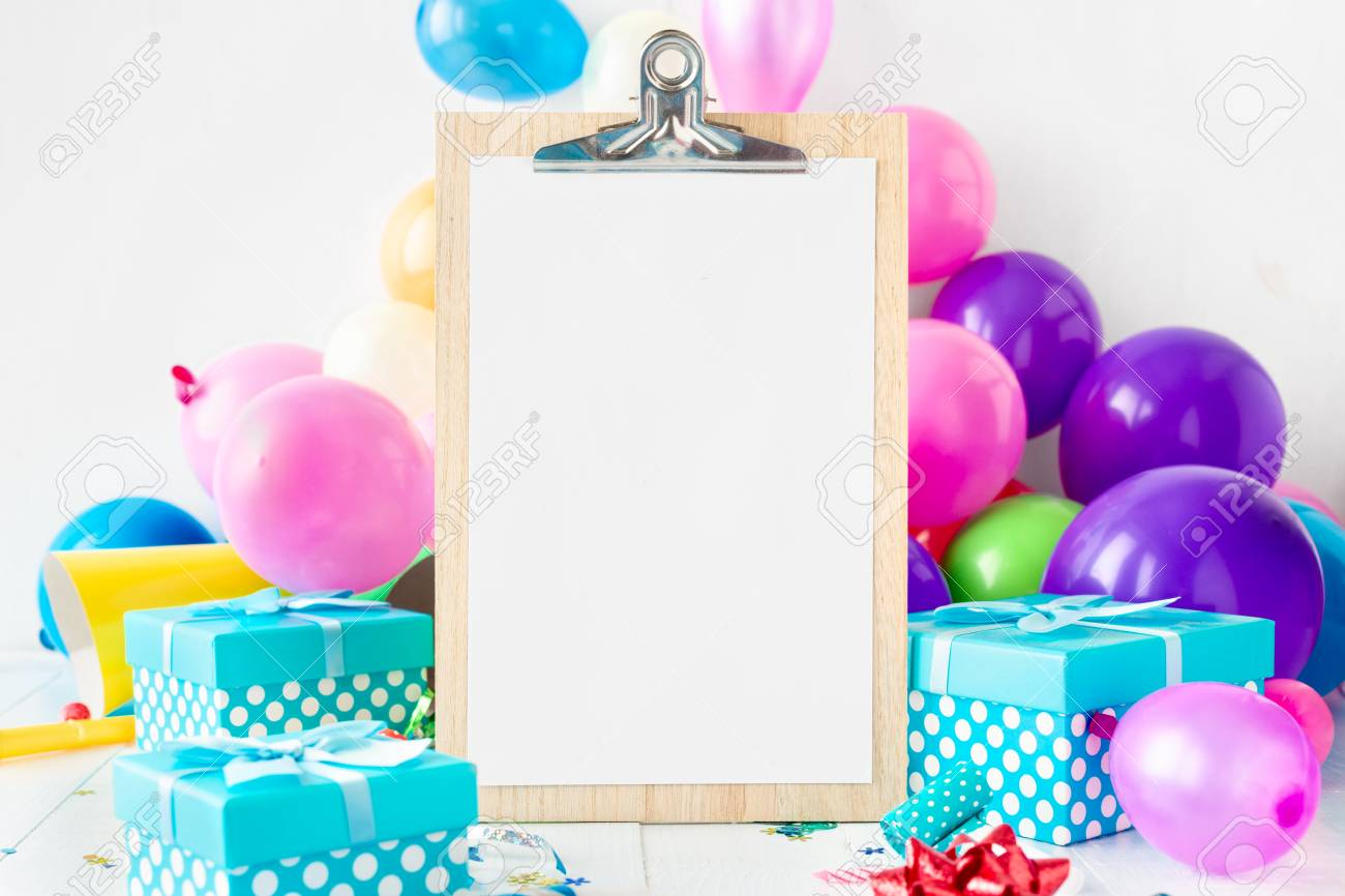 Party Background Balloons Clipboard With Empty Sheet Paper