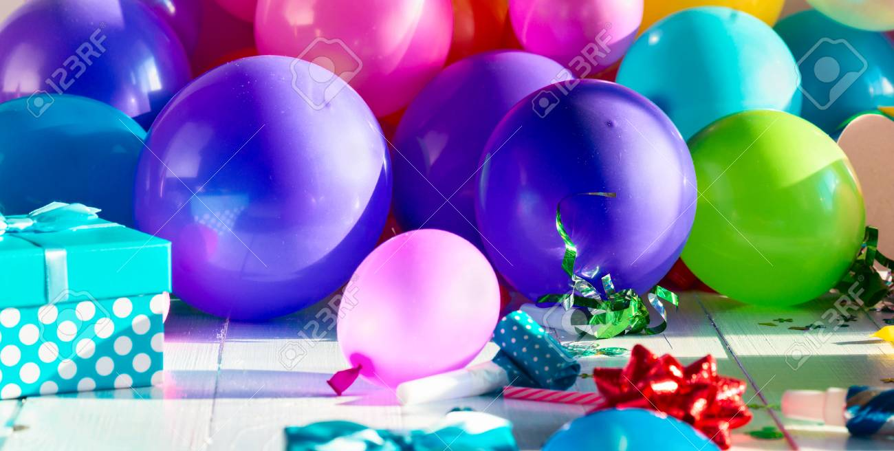 Birthday Party Background With Decoration Balloon Confetti