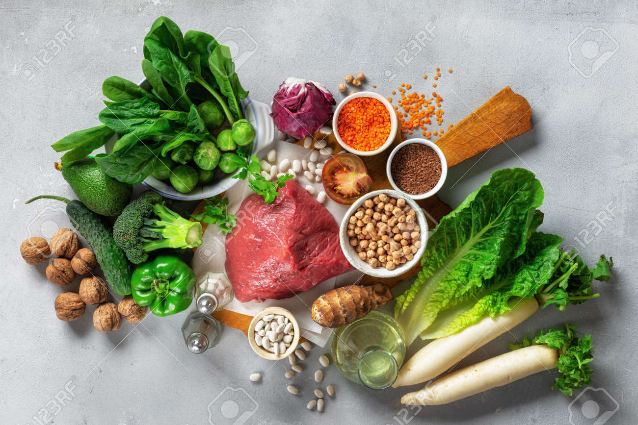 Healthy diet and balanced nutrition ingredients: vegetables, grain and meat. Nutrition, clean eating food concept top view - 136617866