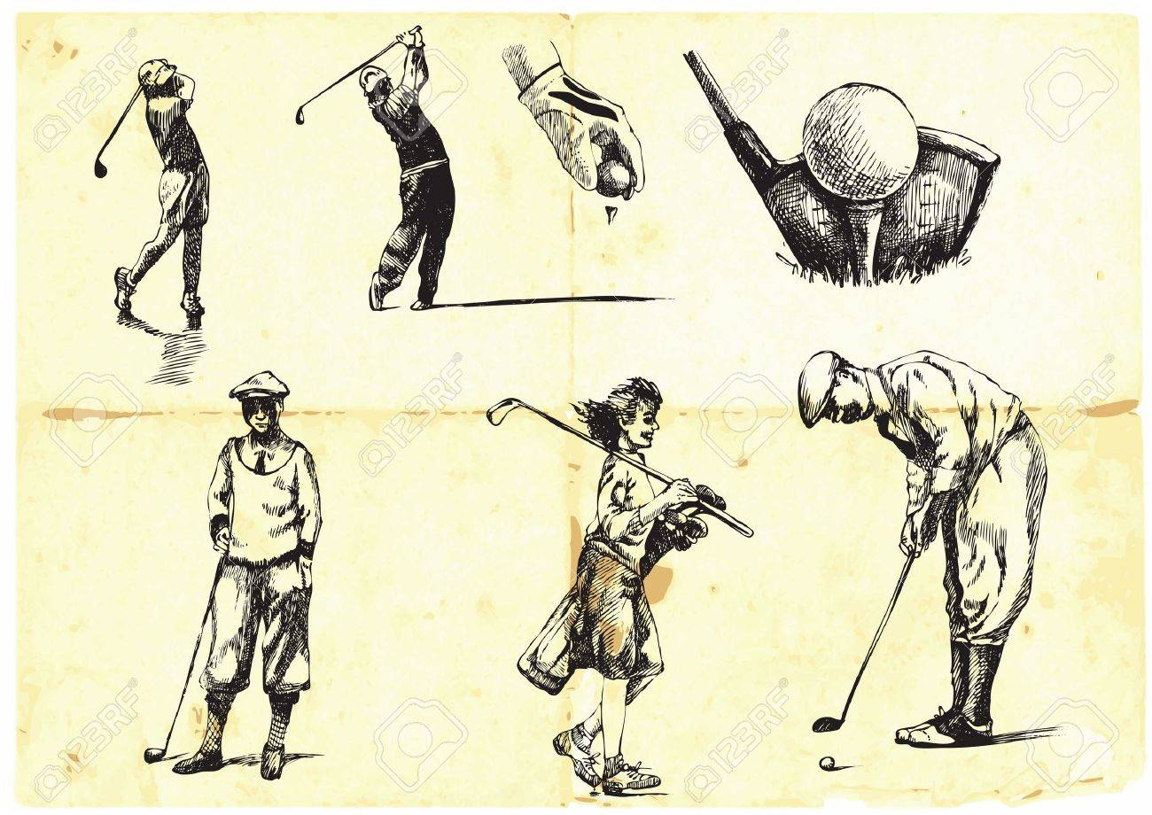 collection of hand-drawn Golf Stock Vector - 14442072