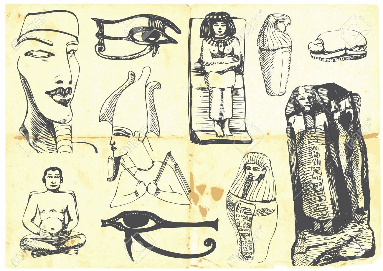 Egyptian collection of symbols, religion, images, people Stock Vector - 14442040