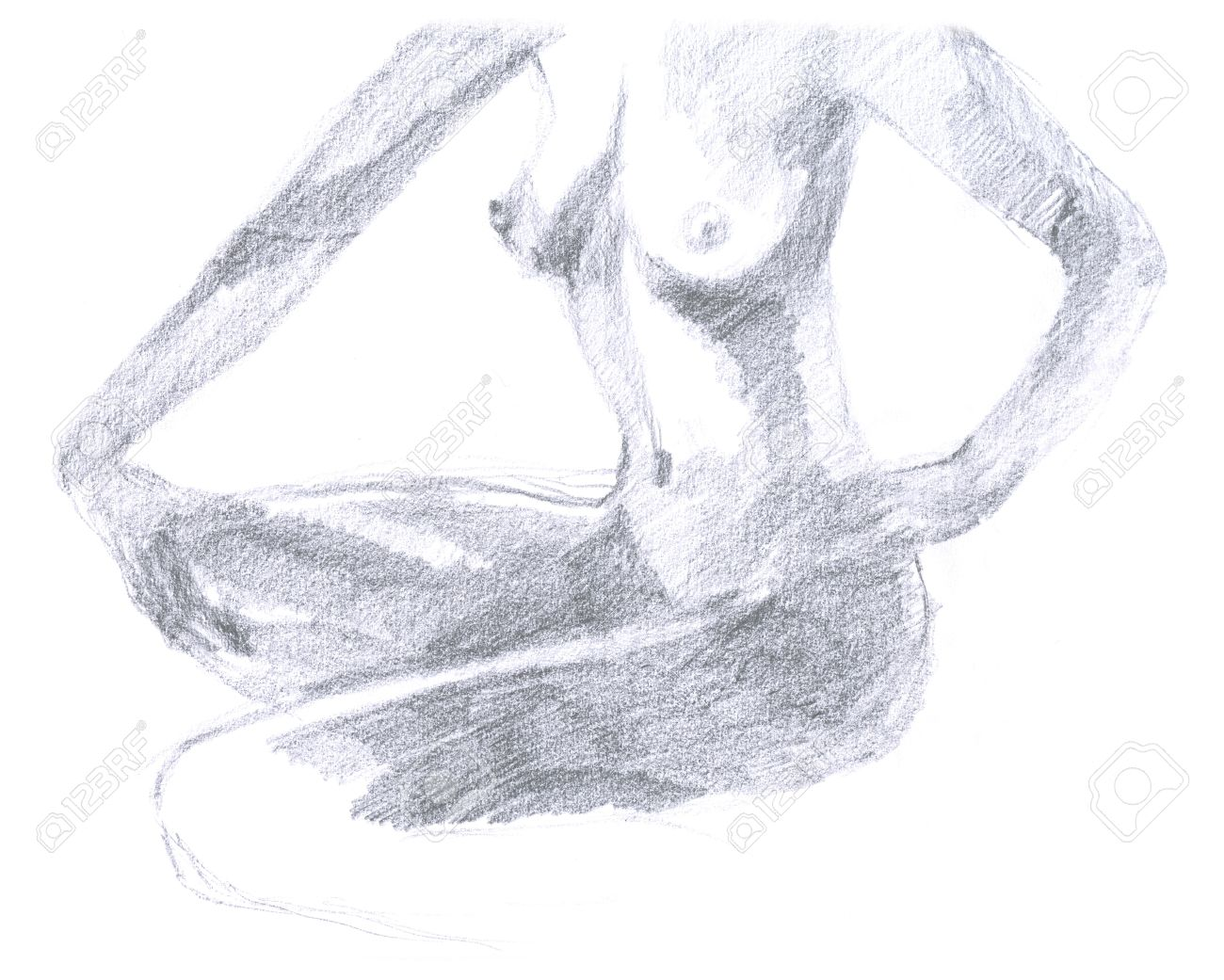 Naked woman hand drawing original pencil technique stock photo 14593168