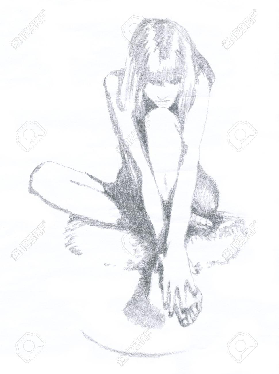 Mujer Desnuda Dibujo A Mano Técnica Original Lápiz