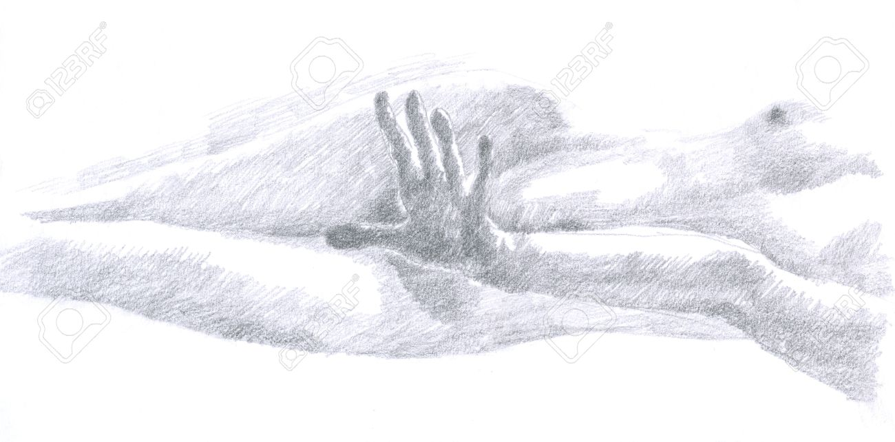 Naked woman hand drawing original pencil technique