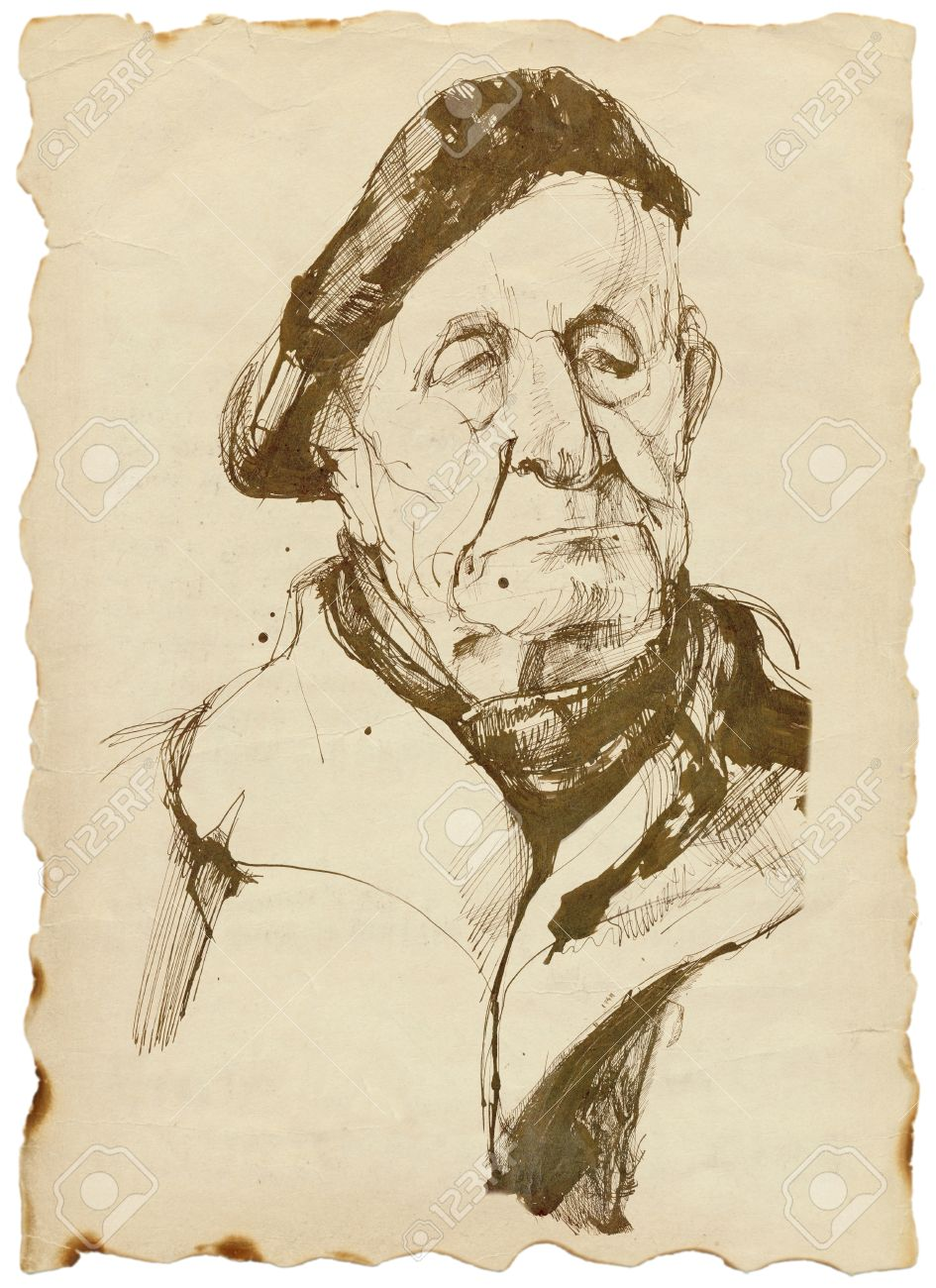 vieil homme coiff dun bret dessin dur banque dimages 14767774