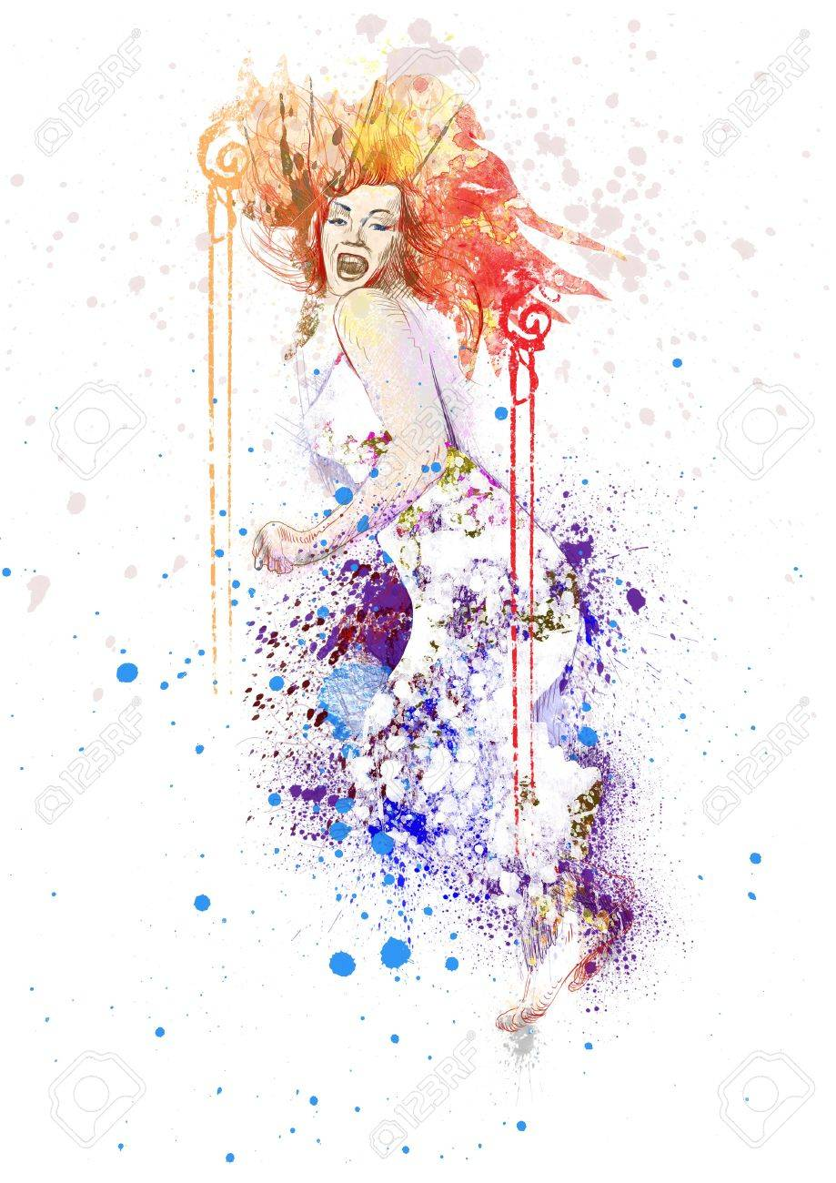 hand-drawn picture jumping beauty Stock Photo - 14778647