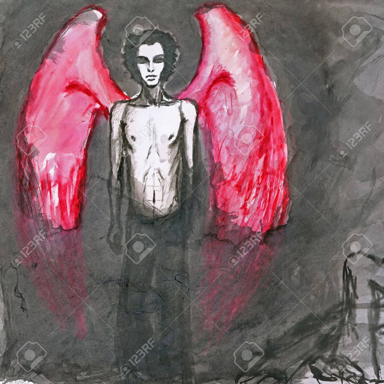red wings angel - hand painted picture Stock Photo - 14825102
