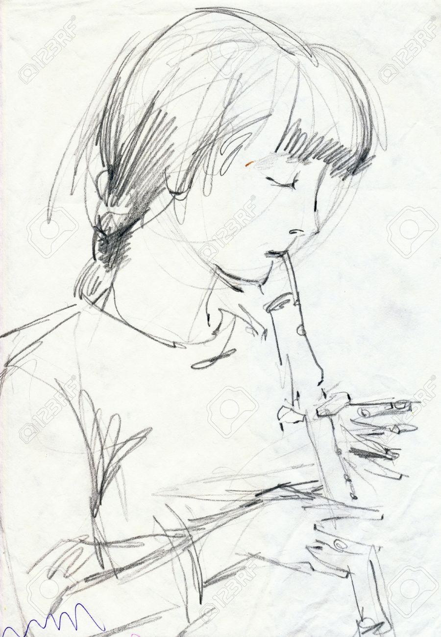 Hand Zeichnung Bild Bleistift Madchen Mit Flote Lizenzfreie Fotos