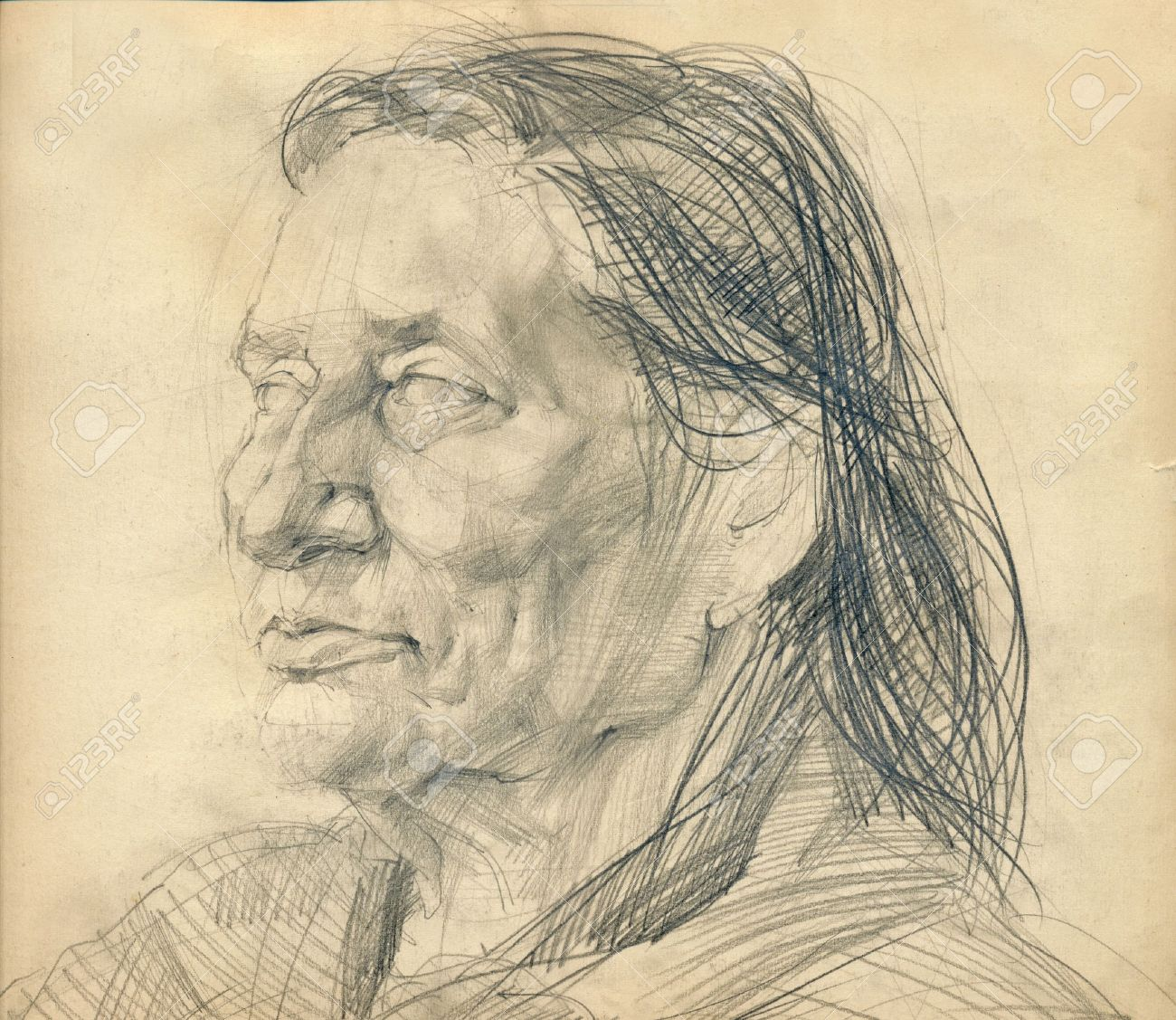 Hand drawing picture pencil face of unknown woman imagens 14825161