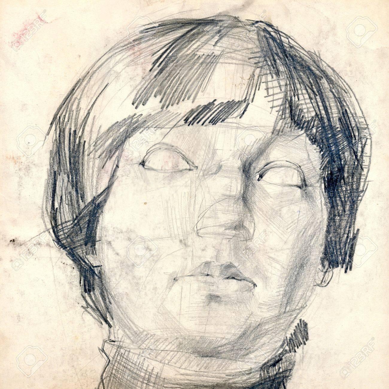 Hand Zeichnung Bild Bleistift Madchen Gesicht Lizenzfreie Fotos