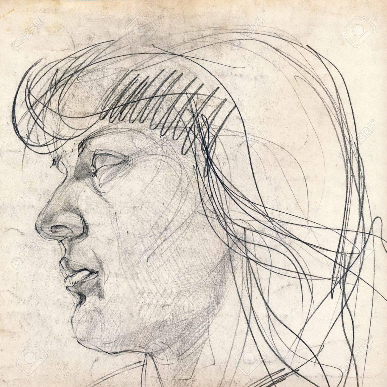 Hand Zeichnung Bild Madchen Gesicht Bleistift Technik Lizenzfreie
