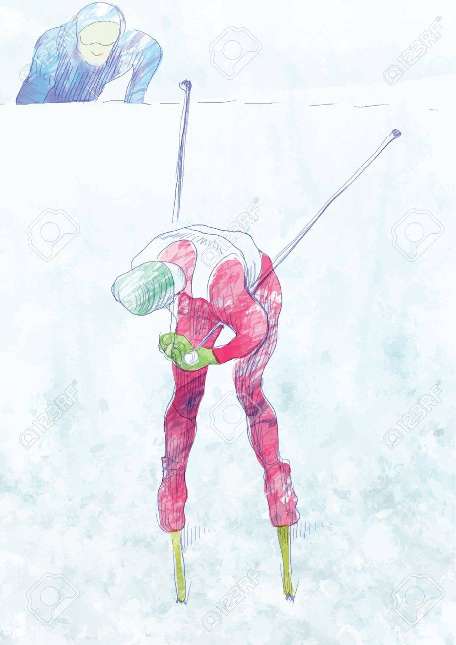 cross country skiing - drawing converted into vector Stock Vector - 15762087
