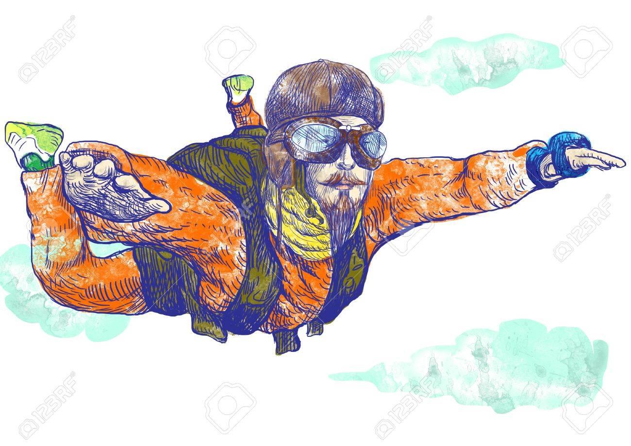 Skydiving, parachutist  Full-sized  original  hand drawing Stock Photo - 15850303
