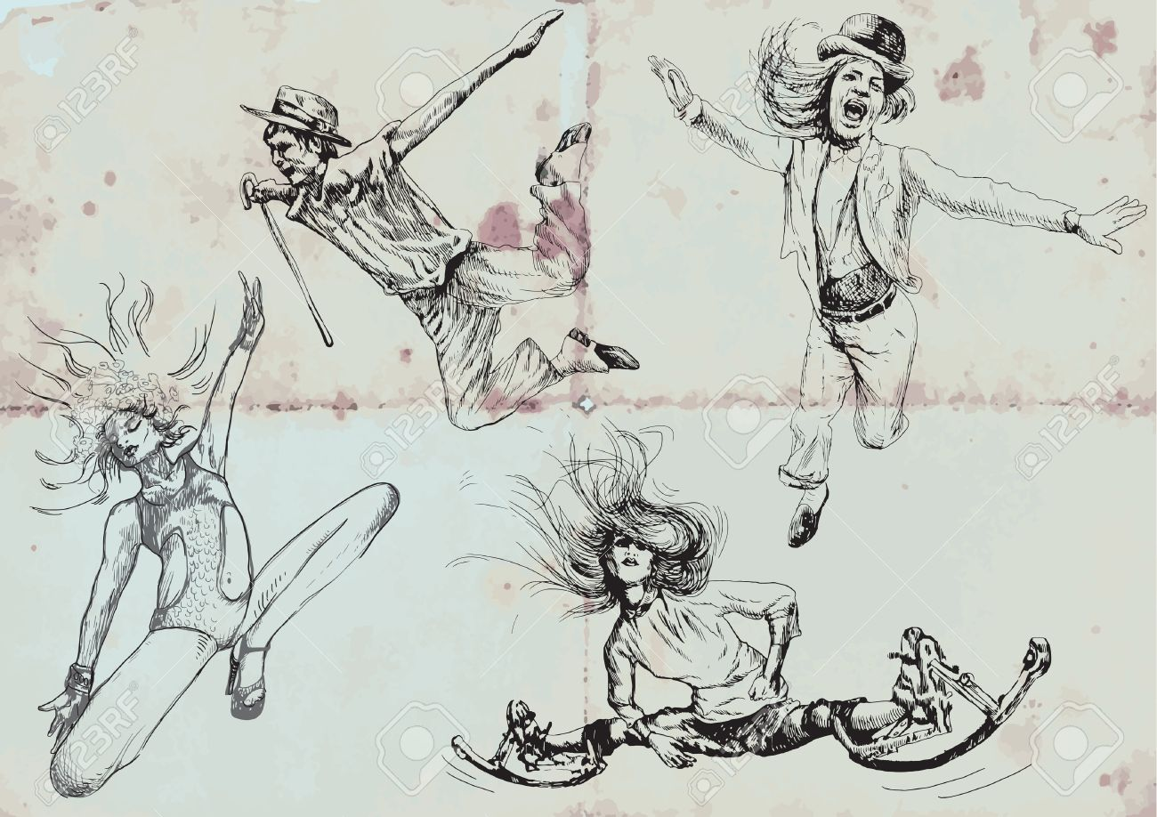 jumping and happy people hand drawings royalty free cliparts