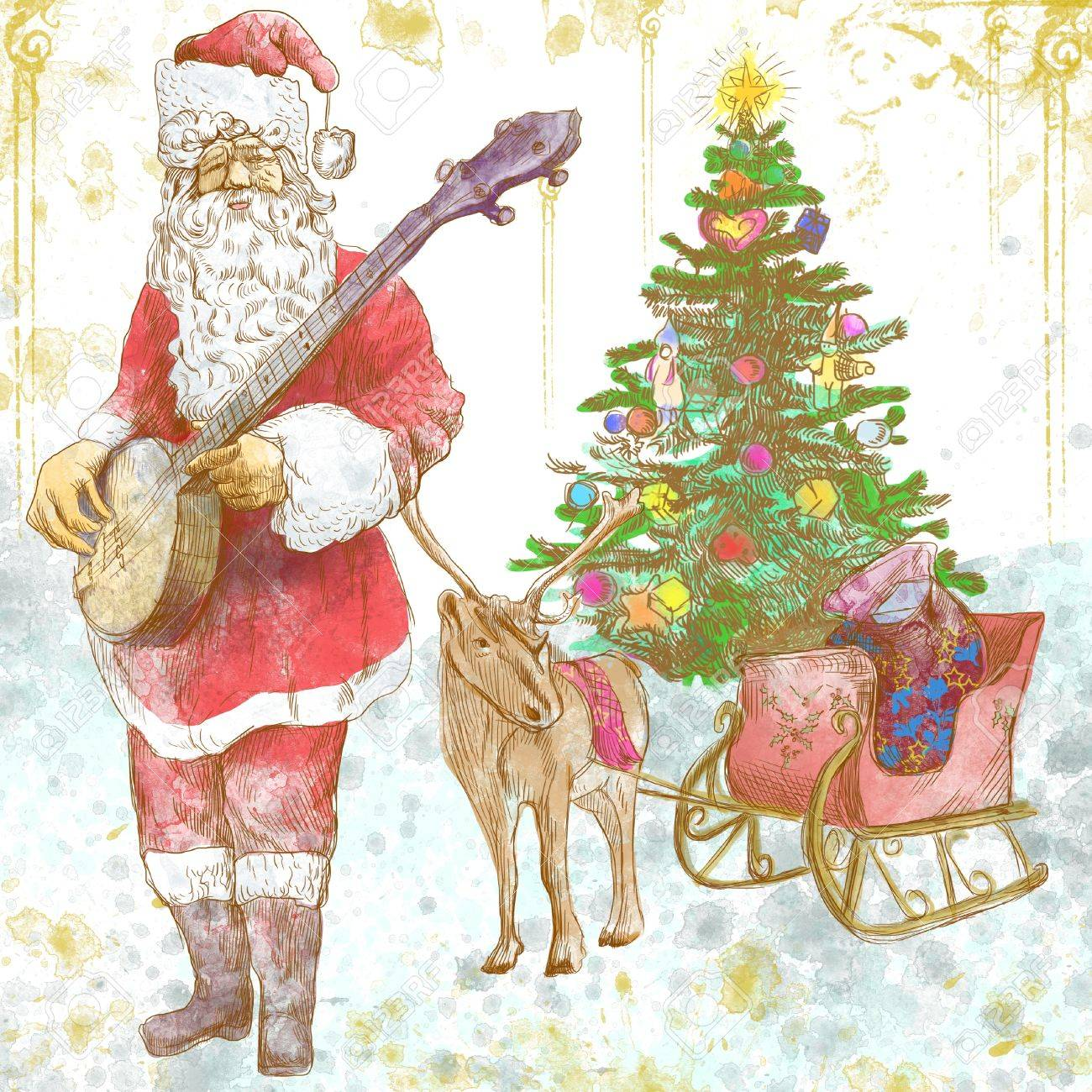 Play Christmas Music.Santa Claus Musician He Goes To Play Christmas Carols On The